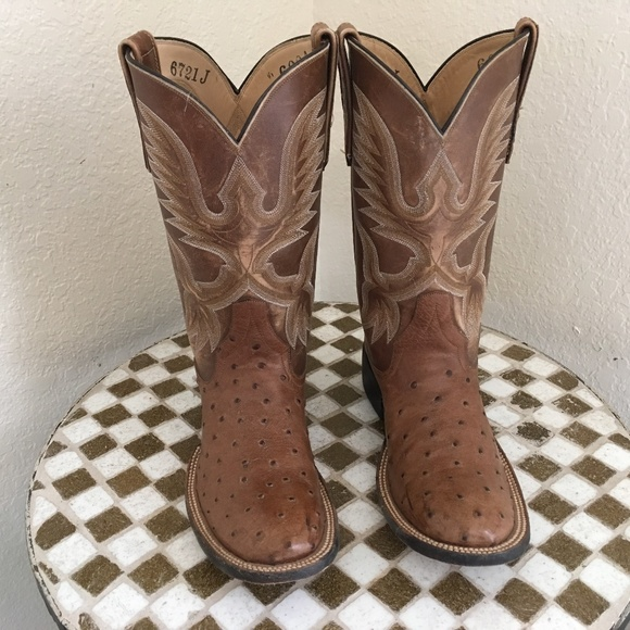 Rios Of Mercedes Brown Ostrich Western Boots 6 A